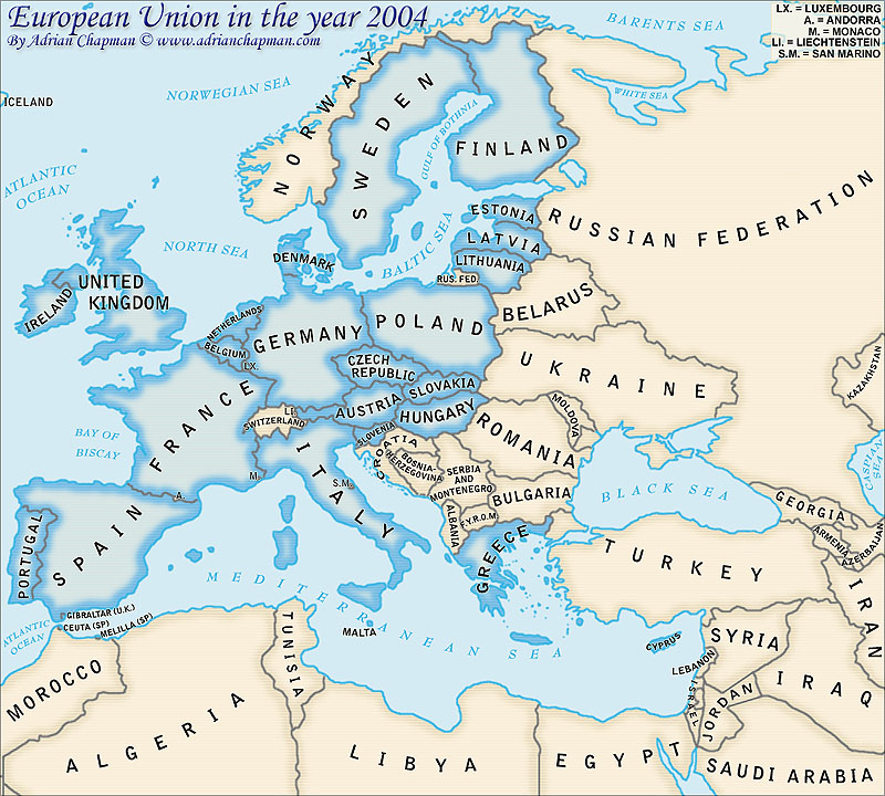 Political Map of the European Union in the year 2004