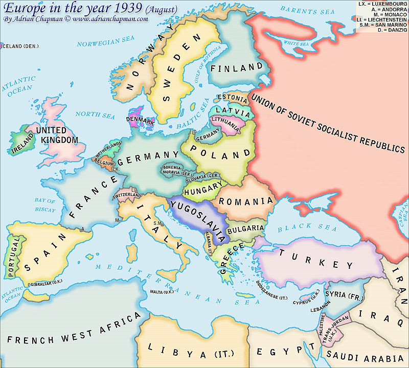 political map of europe in the year 1939