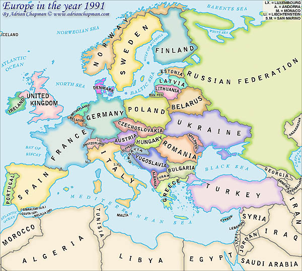 map of europe. Political Map of Europe in the