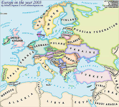 map of serbia europe. Political Map of Europe in the